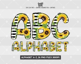 Sunflowers Doodle Alphabet, Transparent PNG File, Sublimation Transfers, Digital Download, Commercial and Personal Use
