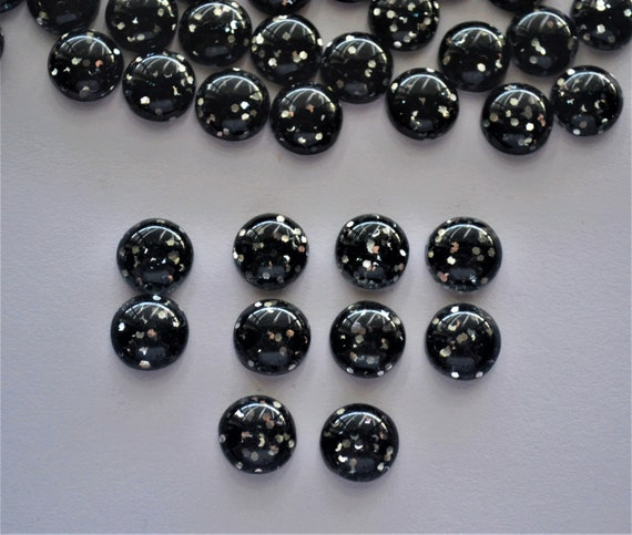 10 Resin Cabochons 12mm Circle Flat Backs Earring Making Domed Black Gold Foil