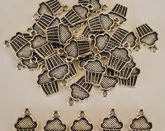 5 x Cupcake Antique Silver Charms - 15mm x 10mm