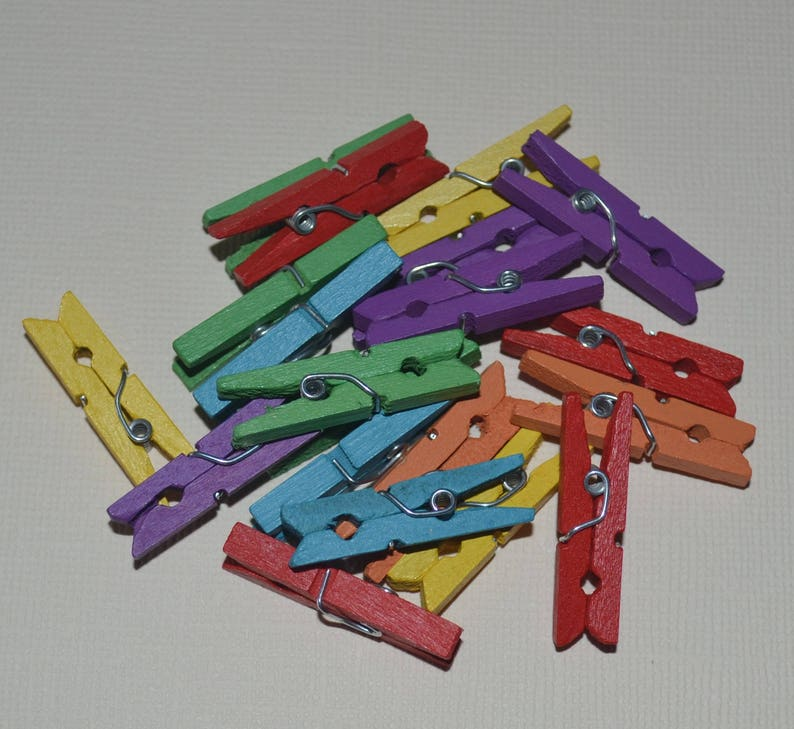 20 X Mini Wooden Pegs Assorted Colours