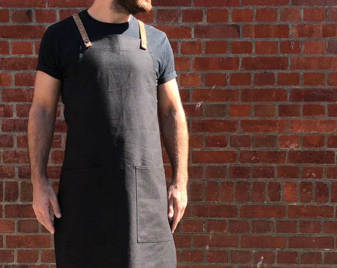 Featured listing image: Organic Cotton Black Cross-Back Vegan Apron With Cork Straps