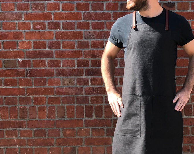 Featured listing image: Organic Cotton Canvas and Leather Cross-Back Apron in Black