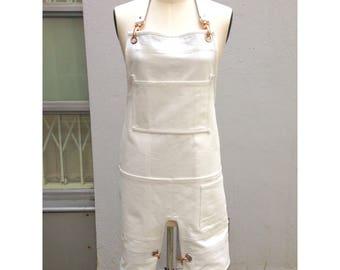 Split Leg Organic Cotton Canvas Apron, Leather Straps, Rose Gold Clasps | Sturdy Apron | Artisan Apron | Food Truck, Market Stall, Florist
