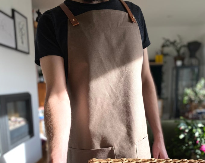 Featured listing image: Organic Cotton Canvas and Leather Cross-Back Apron in Khaki