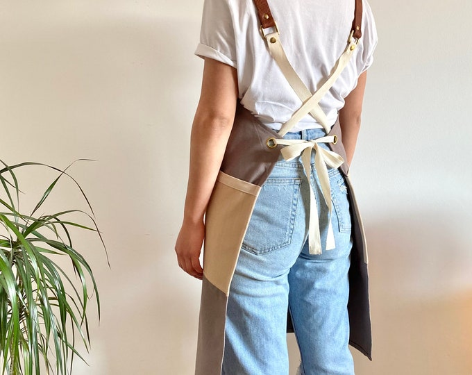 Featured listing image: Organic Cotton Canvas and Leather Cross-Back Apron, Khaki and Beige