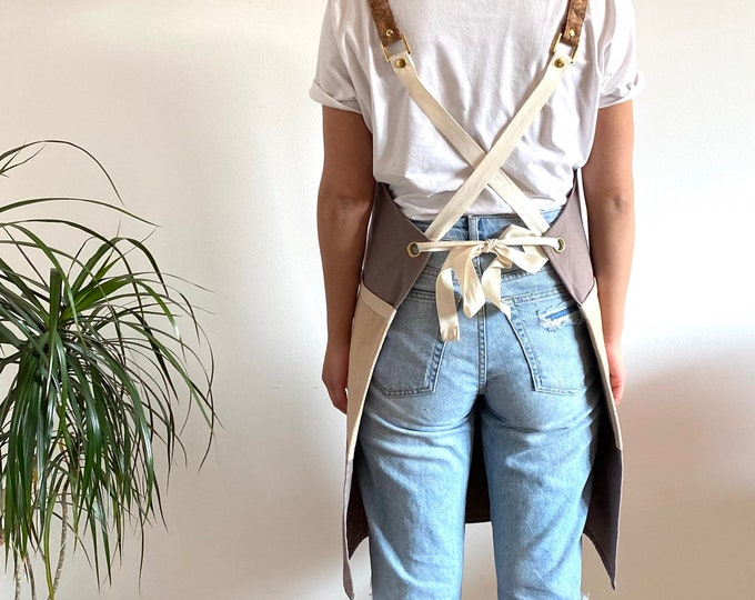 Featured listing image: Organic Cotton Canvas and Cork Cross-Back Apron, Khaki and Beige