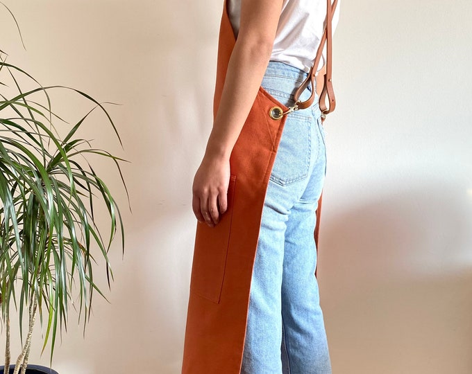 Featured listing image: Organic Cotton Canvas and Leather Cross-Back Apron, Terracotta