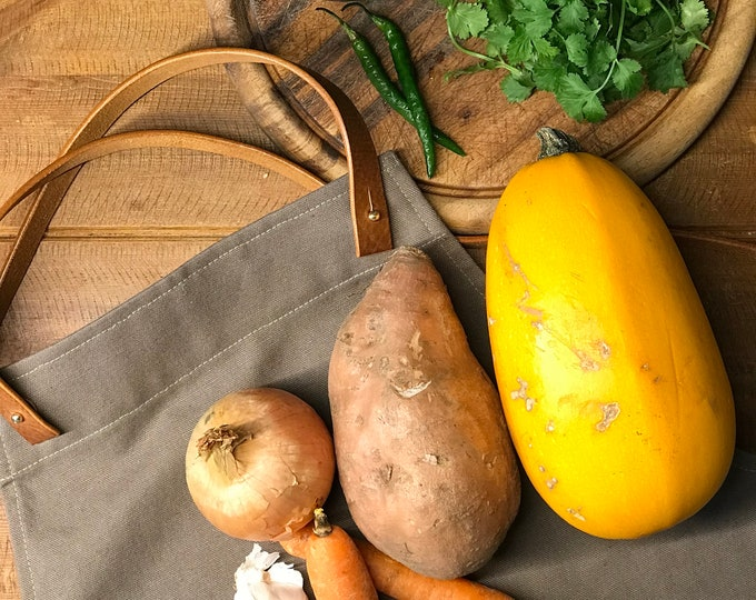 Featured listing image: Organic Cotton Canvas and Leather Cross-Back Apron, Khaki   Khaki Apron   Barista Apron   Servers Apron   Home Cook   Home Baker