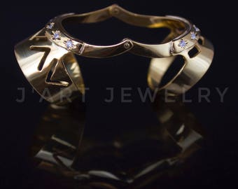 """Double ring, Full finger ring, statement ring, sterling silver and zircon ring """"Arabica"""""""