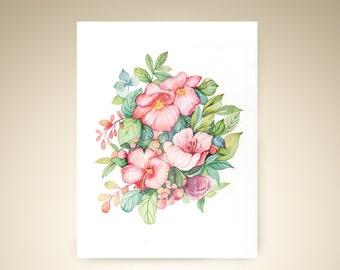post card - Pink blooming flowers