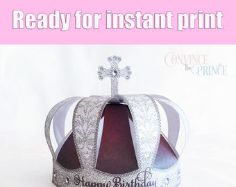 royal blue 3d crown printable crown for printer the royal etsy