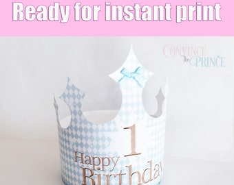 BLUE Crown For Instant Print On Home Printer Printable Prince Princess Birthday Party