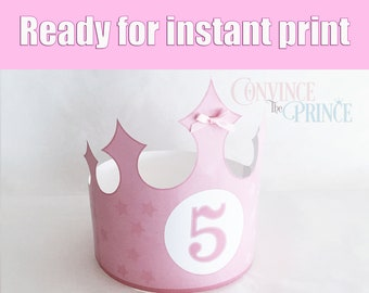 PINK STAR Crown For Instant Print On Home Printer PRINTABLE Prince Princess Birthday Party