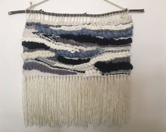 Large Woven wall hanging / wall tapestry/ weaving - shades of grey