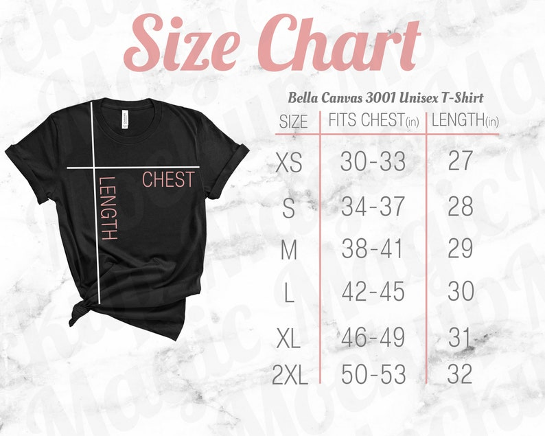Bella Canvas Size Chart Mockup 3001 Unisex Crewneck Black T Shirt Pink Text And White Marble Background
