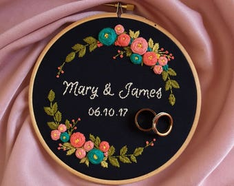 Wedding embroidery, Embroidery hoop art, Floral hand embroidery, Personalized custom embroidery, Modern embroidery, Anniversary gift