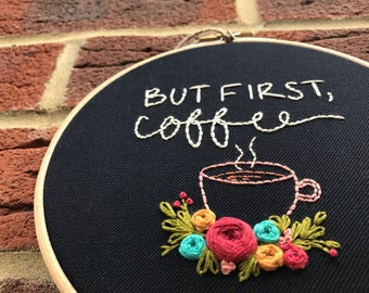 Hand embroidery, Embroidery hoop, Embroidery art, Embroidery hoop art, Modern embroidery,Coffee embroidery