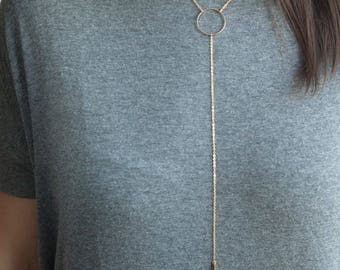 Minimalist Gold Necklace Lariat Circle | Simple Minimalistic Thin Chain