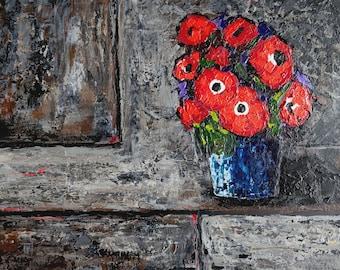 Still life - Red Flowers in blue vase