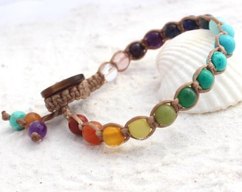 Macrame single wrap bracelet, bracelet with gemstones (rainbow chakra), gift for ladies and teens