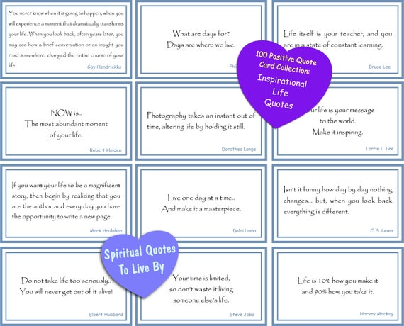 100 Inspirational Life Quotes Small Cards In Box Download Etsy