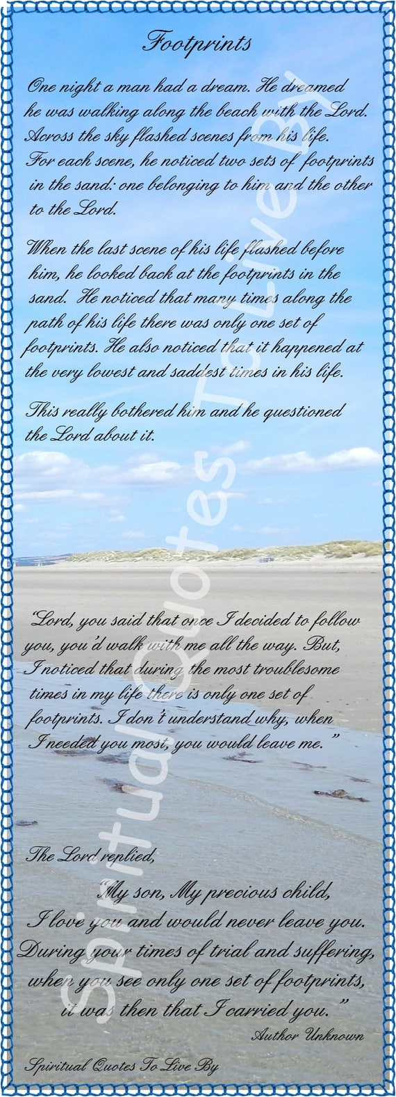 picture relating to Footprints in the Sand Poem Printable Version called Absolutely free printable footprints in just the sand bookmark