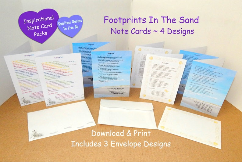 Footprints - Printable Note Cards - Pack Of 4 Designs With Envelopes -  Footprints In The Sand - Inspirational Poem - Religious - Faith