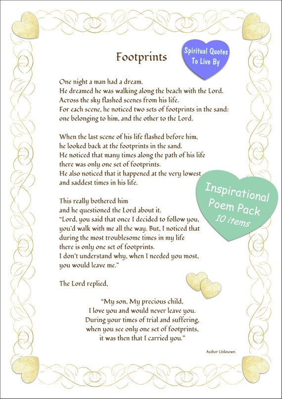 Printable Footprints In The Sand Heart Border 10 Item Etsy