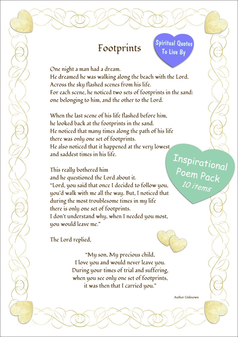 graphic about Footprints Poem Printable identified as Printable Footprints Within The Sand - Centre Border - 10 Solution Inspirational Poem Pack - Footprints - Non secular - Religious Quotations Toward Are living By means of