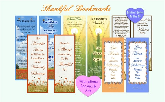 Wdzięczny Zestaw Zakładek 10 Wydruk Zakładek Wiersze I Cytaty Z Wdzięcznością I Wdzięczność