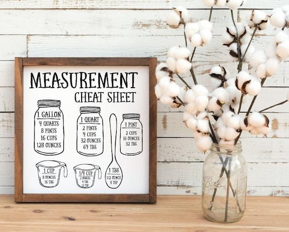 Measurement Cheat Sheet Svg Kitchen Svg Measurement Chart Etsy
