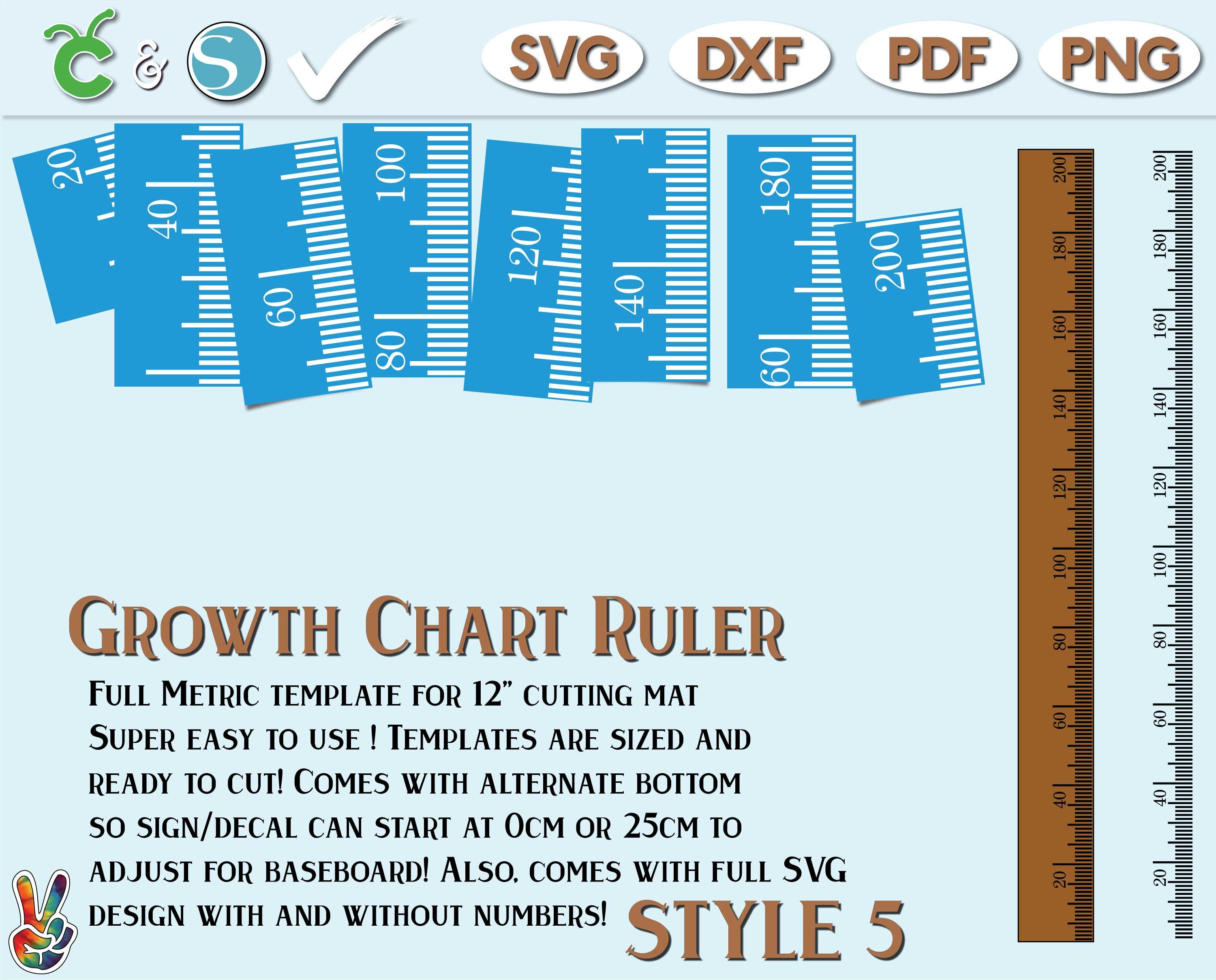 growth chart ruler stencil file metric imperial svg dxf | etsy