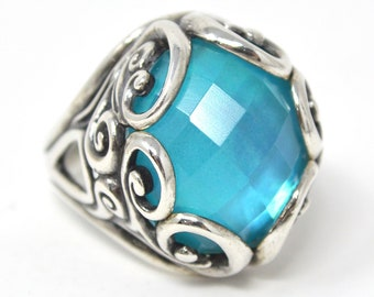 Vintage Designer Relios Carolyn Pollack Whirlwind Glowing Blue Quartz Turquoise Doublet Sterling Silver Ring - Size 9.75 - 599382236