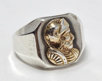 Vintage 10k Yellow Gold Sterling Silver Trojan Warrior Ring - Size 10 - 589132378