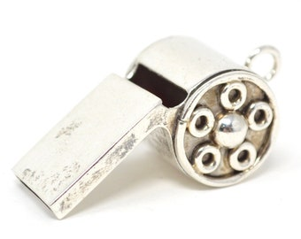 Vintage Taxco Mexico Sterling Silver Handmade Working Whistle - Necklace Pendant - 616399713