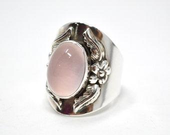 Vintage Carol Felley Native American Sterling Silver Rose Quartz Wide Band Ring - Size 7 - 587862418
