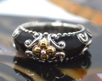 Designer Barbara Bixby Sterling Silver 18k Yellow Gold Flower Black Enamel Ornate Scroll Ring - Floral - 516012851