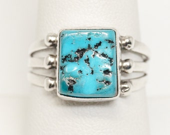 Sterling Silver Bypass Ring by Navajo Silversmith Richard Begay Size 7 Turquoise and Coral