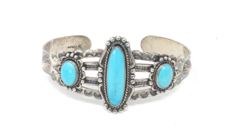 Vintage Native American Signed JP Turquoise Arrows Stamped Sterling Silver Cuff Bracelet
