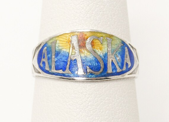 7 enamel Ring  Sterling Silver Enamel vintage   17,5 0.683in O