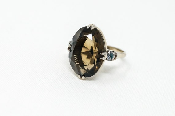 Size 6.25 Sterling Silver Gold Vermeil Smokey Topaz Ring Gold Wash Sterling Nice Antique Style Gorgeous Ring Solid 925 Smokey Topaz Ring