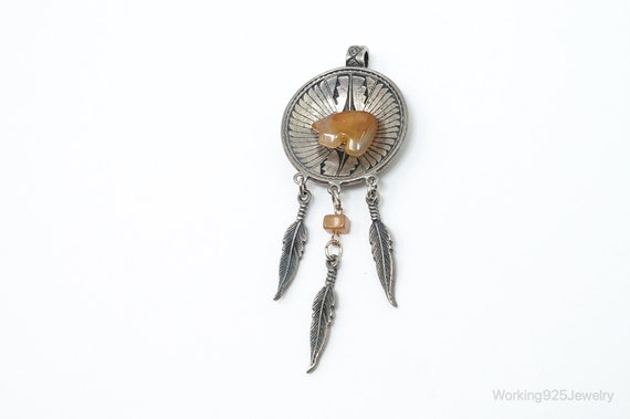 Sterling Silver Vintage Native American Orange Agate Clip On Earrings