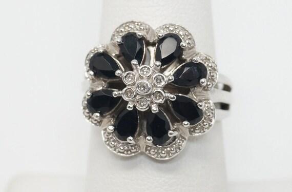 Size 8.25 Vintage Designer BARSE Black Onyx Flower Sterling Silver Ring
