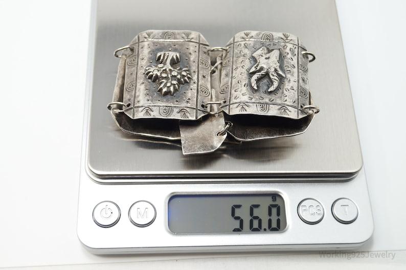 Large Vintage South Africa Life Sterling Silver Panel Bracelet