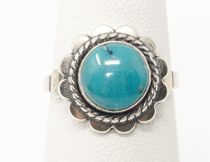 Size 4.5 Vintage Bell Trading Post Turquoise Southwestern Sterling Silver Ring