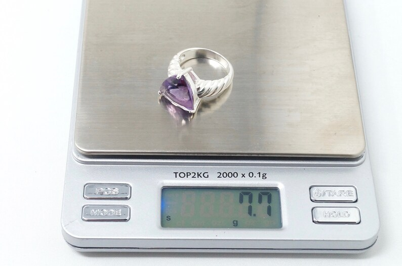 Stunning Vintage Large Purple Amethyst Cable Cord Statement Ring Sterling Silver Size 8-777550009