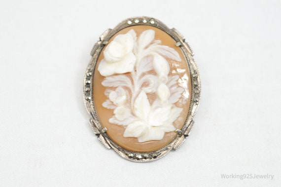 Antique Victorian European Cameo Necklace 800 Silver Blue Glass Stones Real Carved Shell Cameo