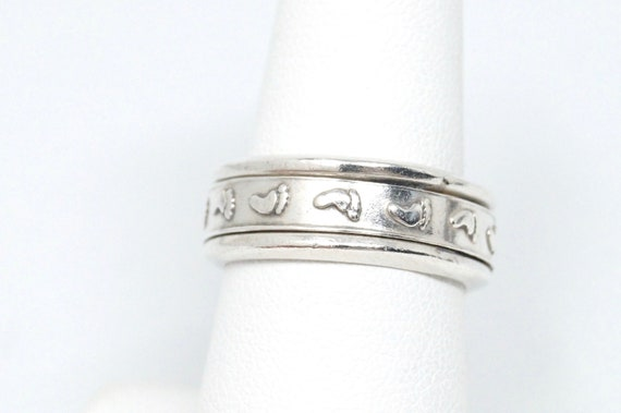90s Vintage Sterling Silver Love Knot Spinner Band