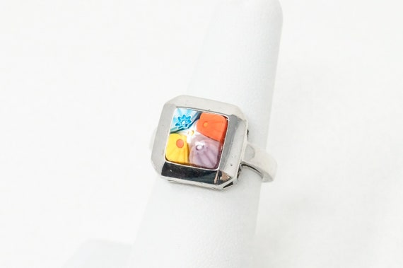 Vintage Italian Millefiori Glass Bead Sterling Silver Ring Size 5.5 Red White Blue Ring Vintage Ring Vintage Jewelry Gift for Her