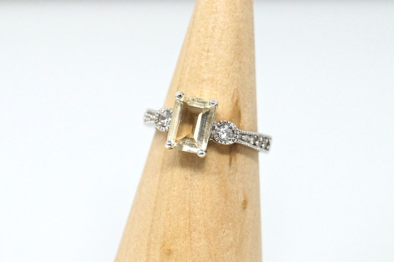 Lovely Elegant Vintage Citrine Cz Art Deco Sterling Silver Sweetheart Ring Size 6-774784721